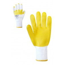"""Перчатки """"Скляр"""" белые с желтым латексным покрытием"""
