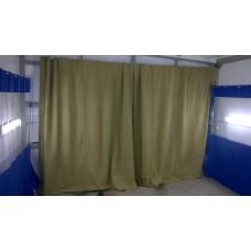 Тенты, шторы, чехлы из брезента с огнеупорной пропиткой, пл. 540 г/м2